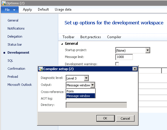 In Microsoft Dynamics Ax 2012 Compiler Output Setting Of
