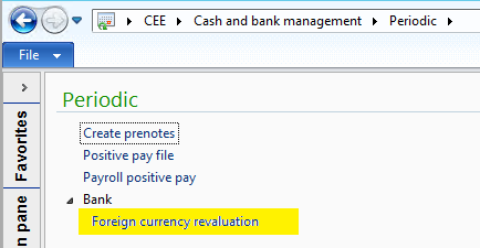 Cash and bank management/Periodic/Bank/Foreign currency revaluation