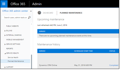 Planned maintenance notices