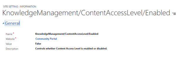 Control access level enabled site settings