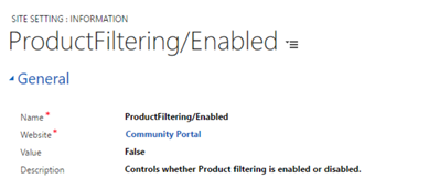 Enable product filtering