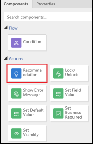 Recommendation action in the Components tab