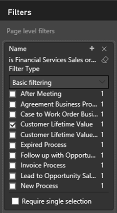 All available business processes are seen in the filter