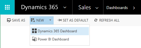 Choose Dynamics 365 Dashboard from the menu
