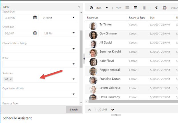 Schedule assistant filter on a lead record