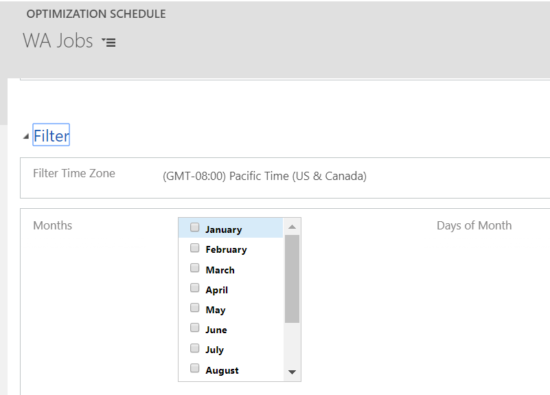 Add time zone setting on schedule filters