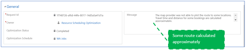 Display message in optimization request