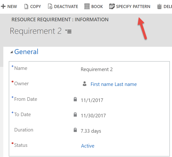 Specify pattern on resource requirement form
