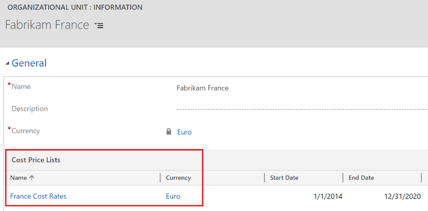 Verify cost price list and currency associated with organizational units