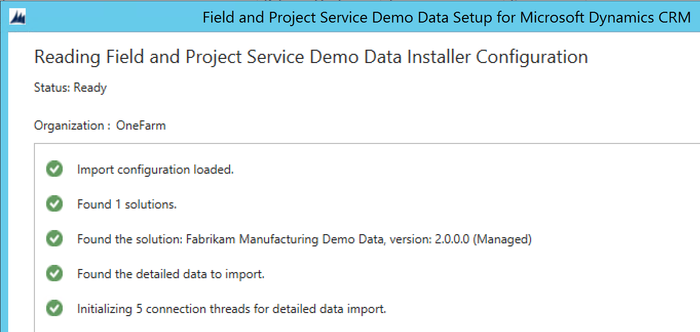 Reading Field and Project Service demo data installer configuration