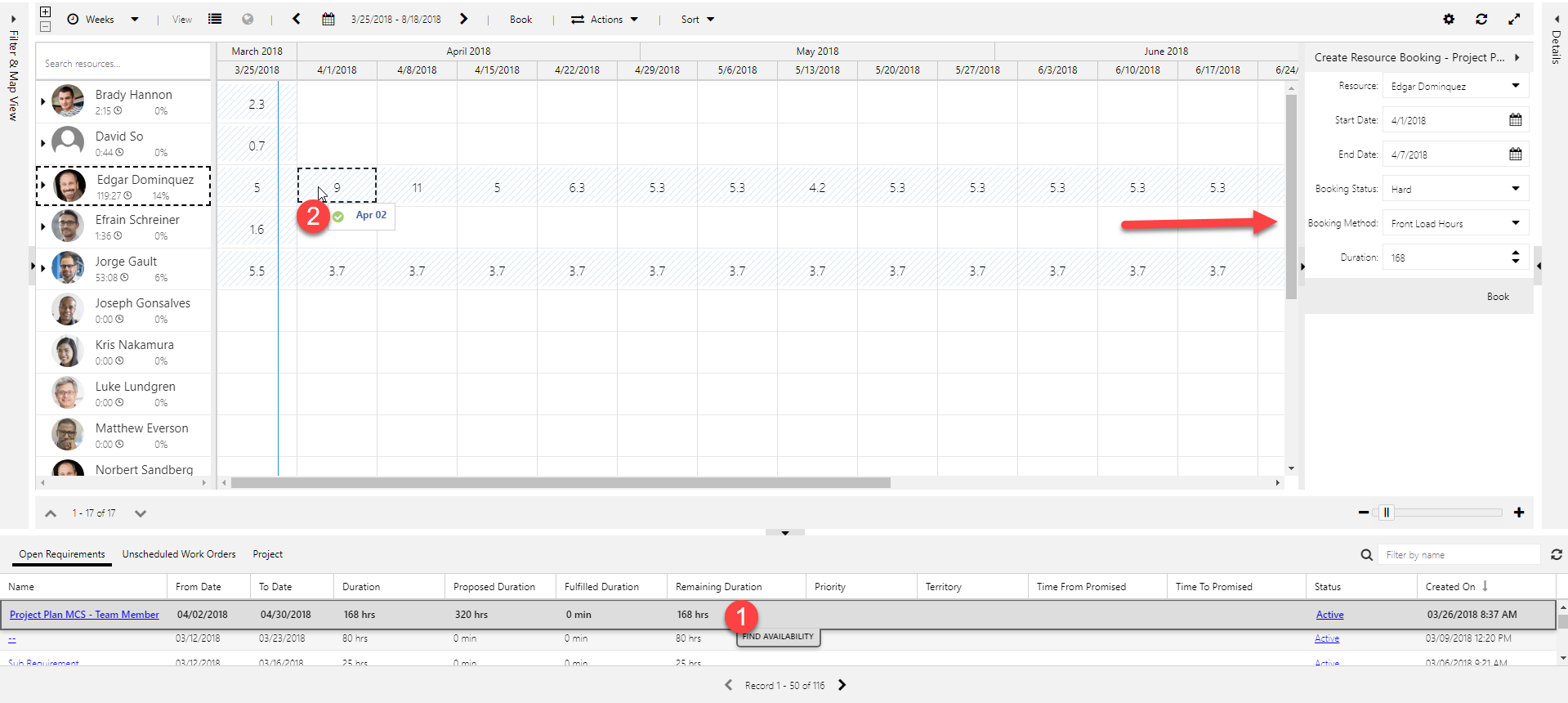 Booking panel when drag and drop scheduling on multiday schedule boards