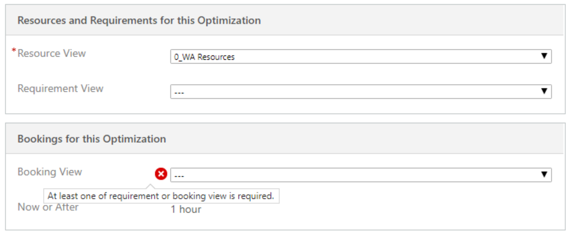 Select at least one booking view for what needs to be optimized