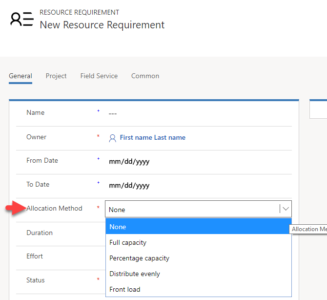 Image showing allocation method options on the requirement form
