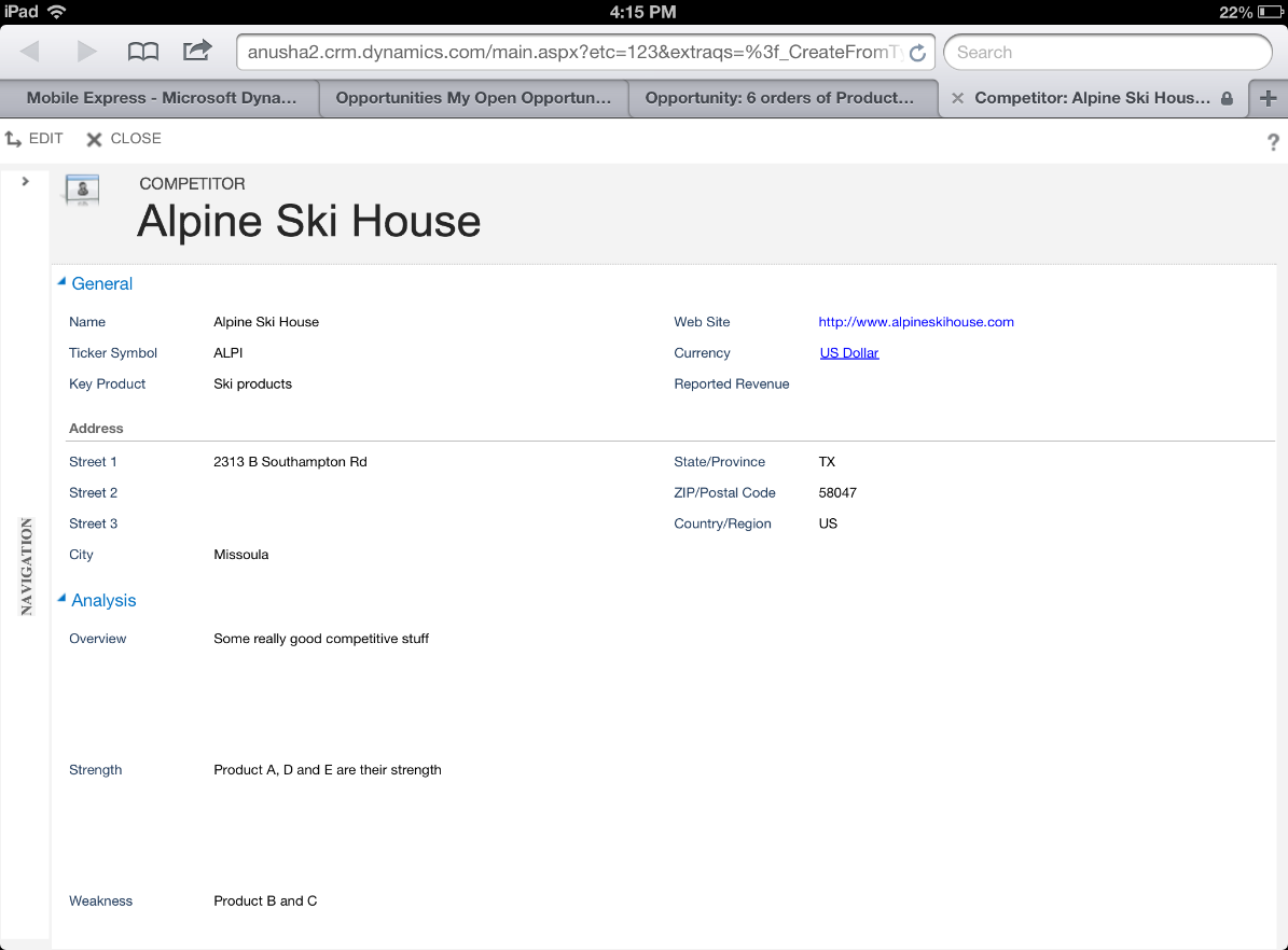 View of a read optimized form in the iPad