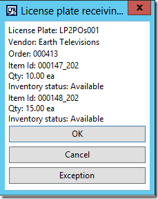 License plate receiving, step 2