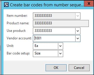 AX for Retail: Size Barcode setup and creation with number
