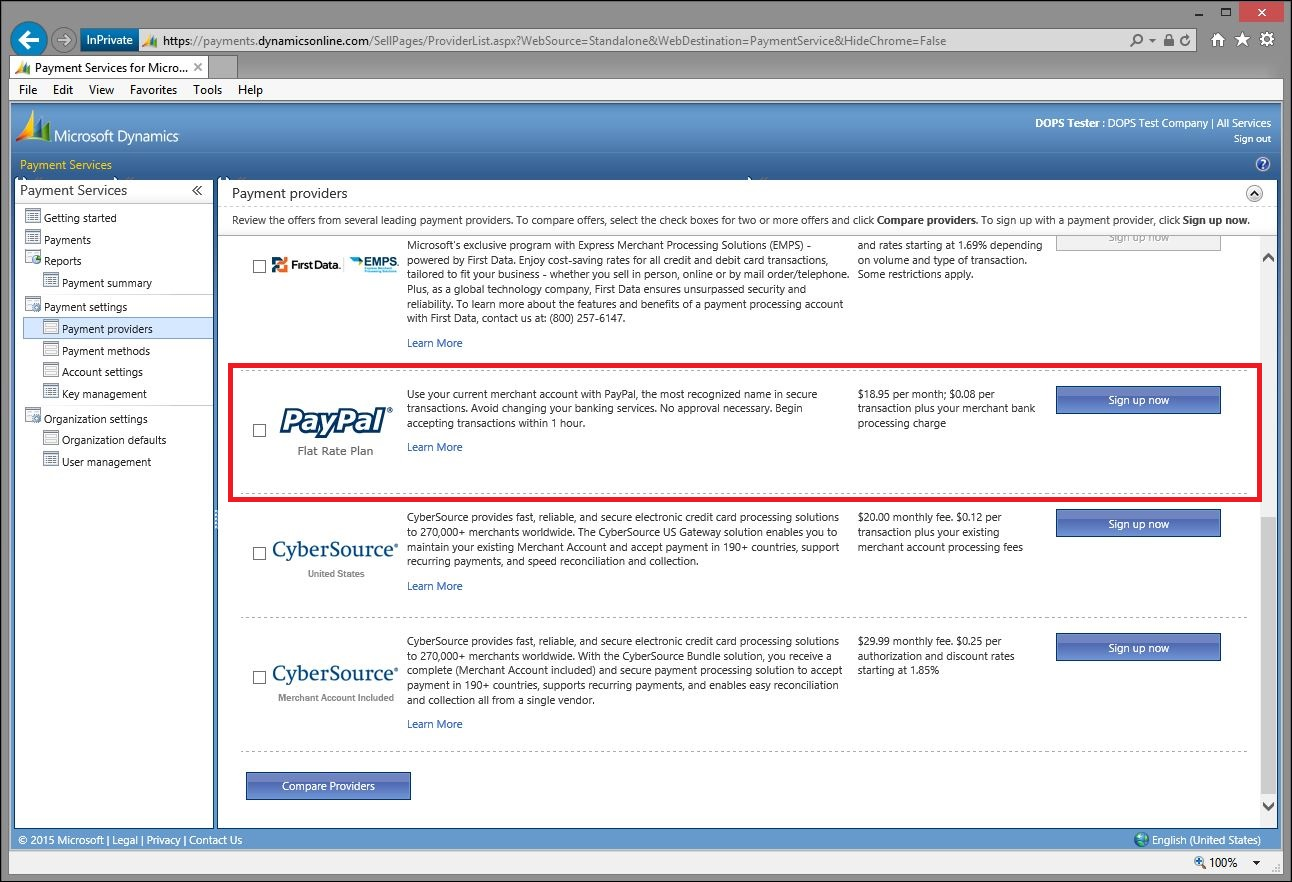 Dynamics Online Payment Services - PayPal sign up - Dynamics