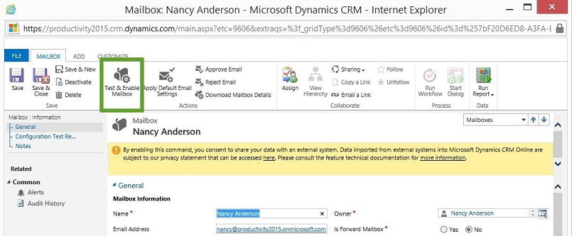 Test and Enable Mailboxes in Microsoft Dynamics CRM 2015