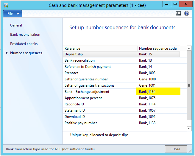 Cash and bank management parameters > Number sequences tab > Bank - Exchange adjustment