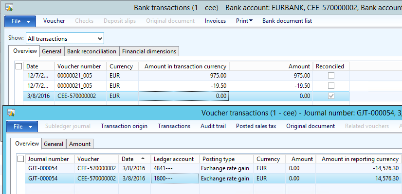 Bank exchange rate gain/loss transaction