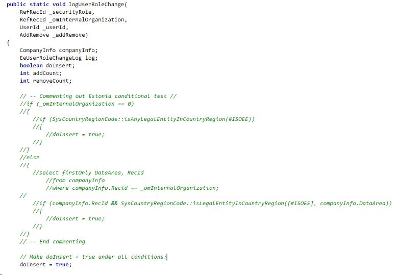 Changes to class method EePersonalDataAccessLogging.logUserRoleChange()