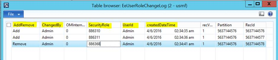 Records created in table EeUserRoleChangeLog after changing role memberships for a user