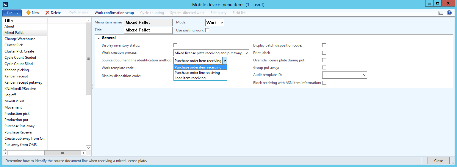Receive and register a pallet with mixed source document lines using