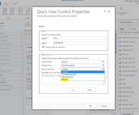 Quick view control properties