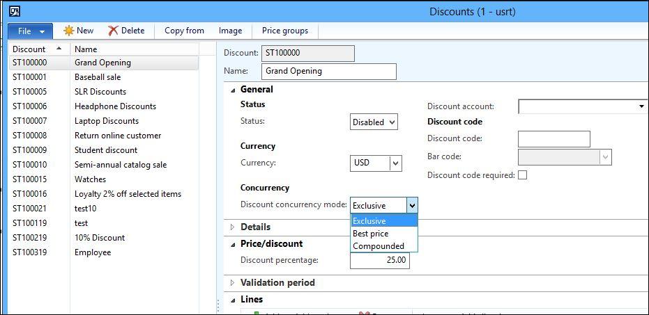Discounts form