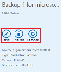 Backup and restore CRM online instance