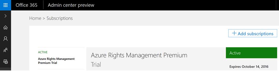 Activate Azure Rights Management subscription