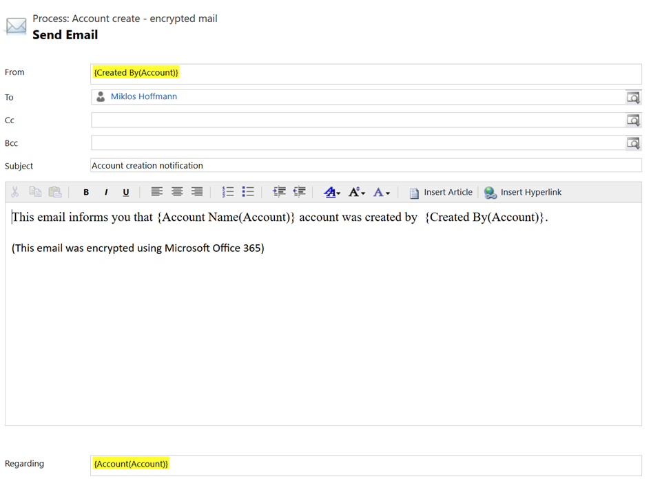 Specify email properties