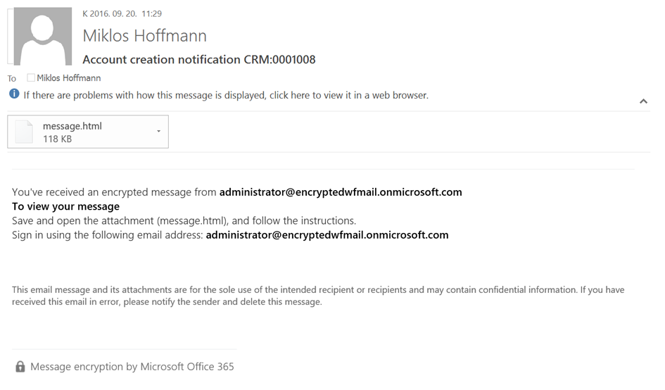 Encrypted account creation notification email