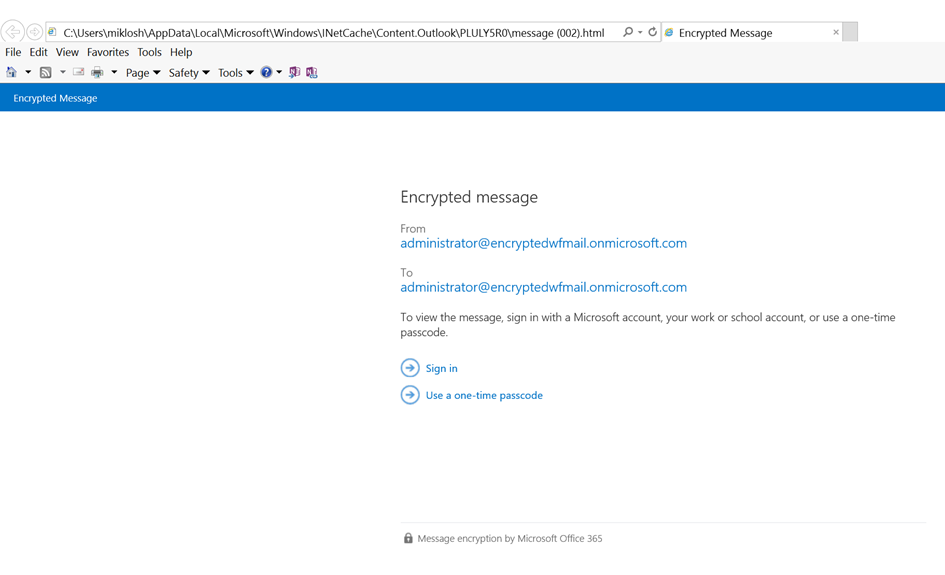 Message when opening the encrypted message in a browser