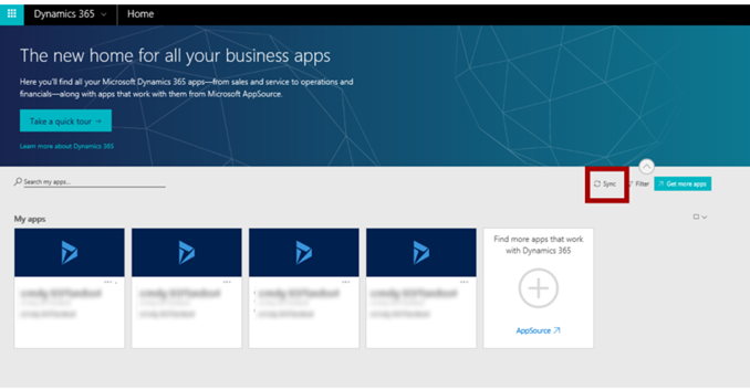 Sync apps on Dynamics 365 home page