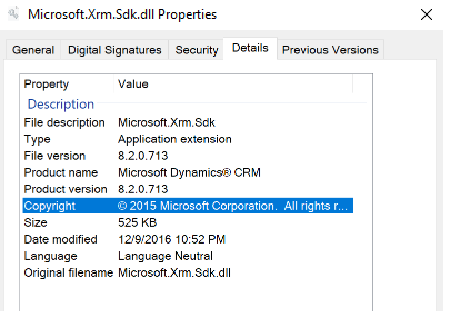 Replace Microsoft.XRM.SDK.dll with latest version of SDK dll