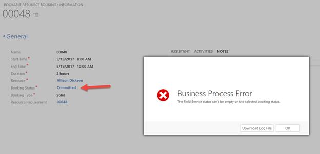 Error while work order booking