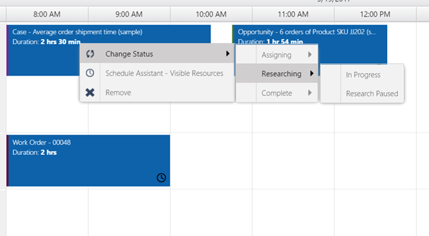 Statuses grouped into option set values