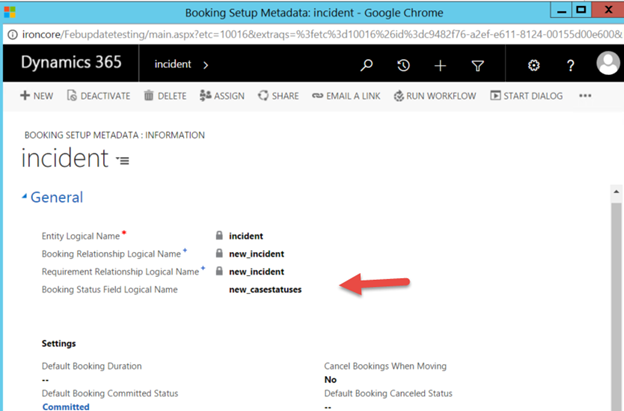 Update Booking Status Field Logical Name field
