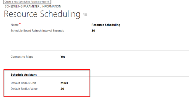 Defaults on Scheduling Parameter record