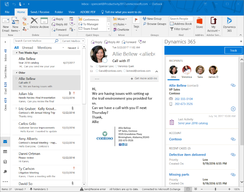 Email record in Outlook
