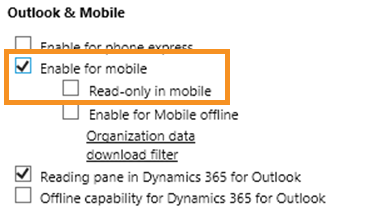Select Enable for mobile check box