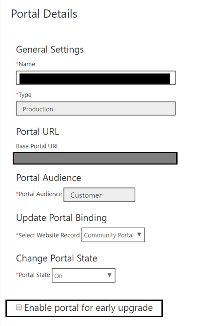 Select the Enable portal for early upgrade check box