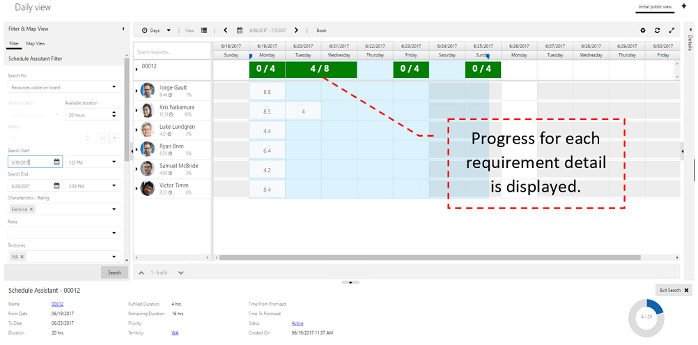 Fulfillment enhancement requirement breakdown: Progress of Requirement Detail