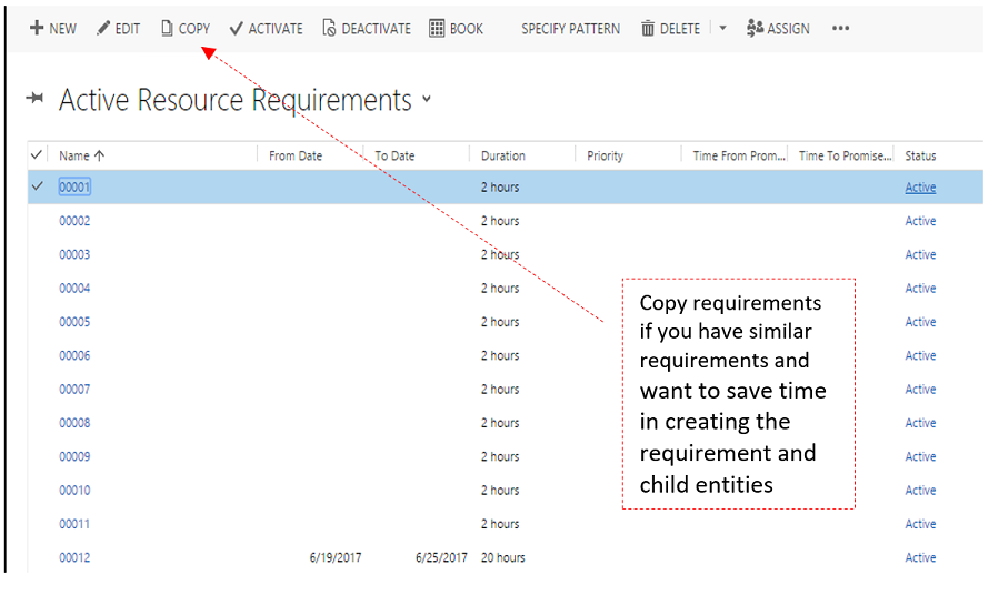 Fulfillment enhancement: Substitute resource: Copy requirements