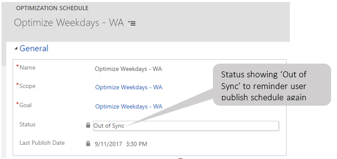 Out of Sync status to remind user to schedule publish again