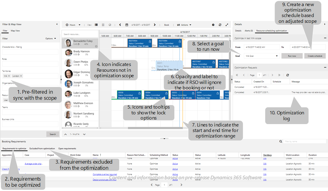 Resource scheduling optimization enhancements