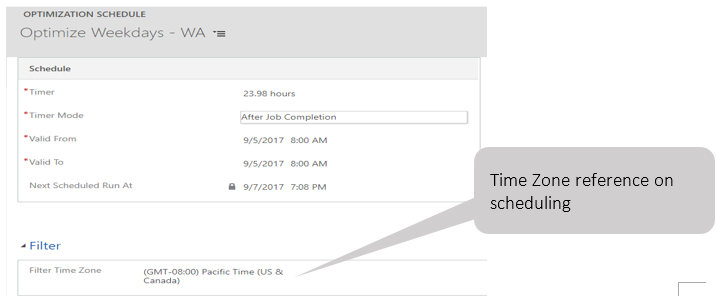 Time zone reference on scheduling