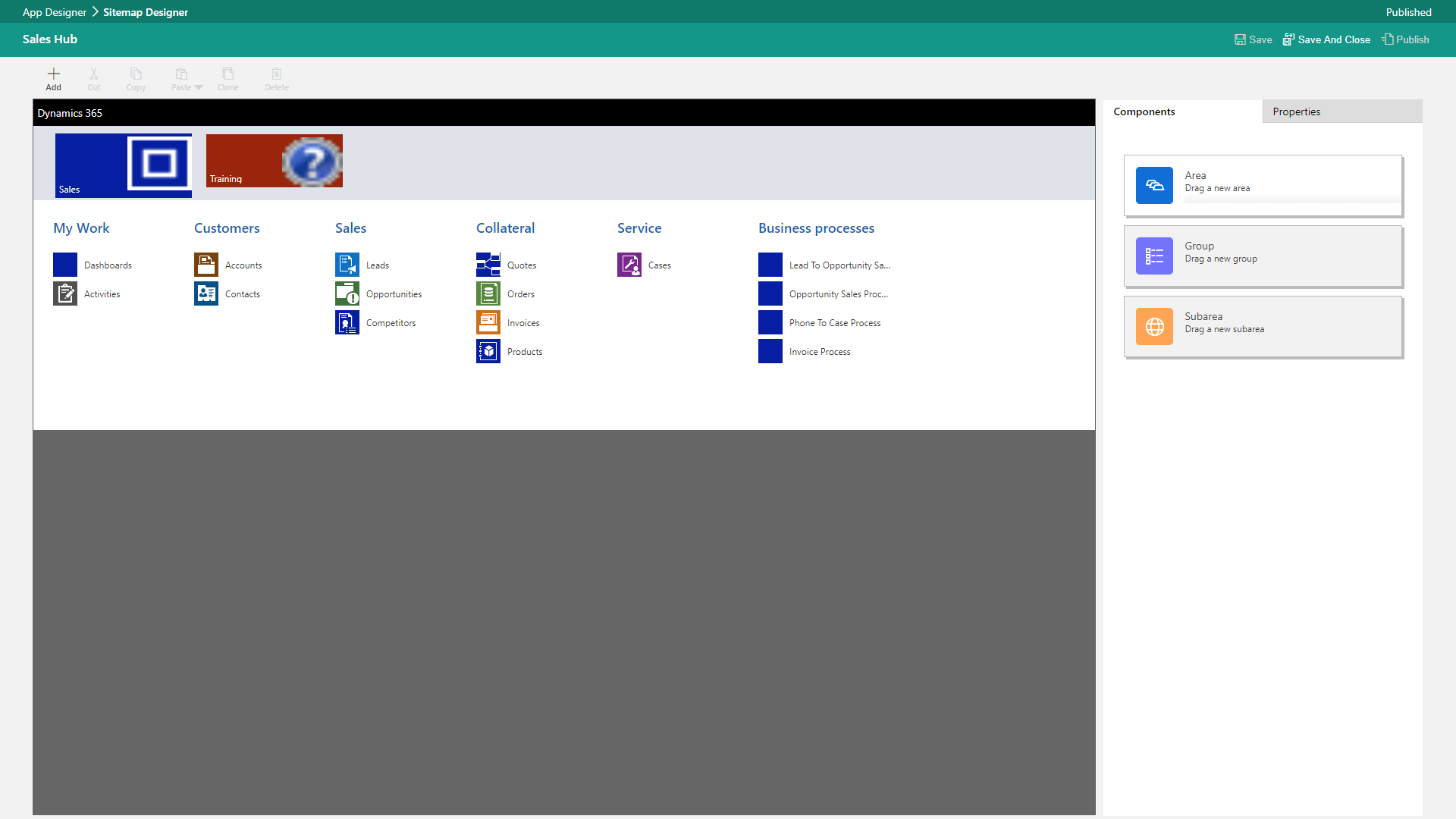 create app with entities, dashboards, and business processes
