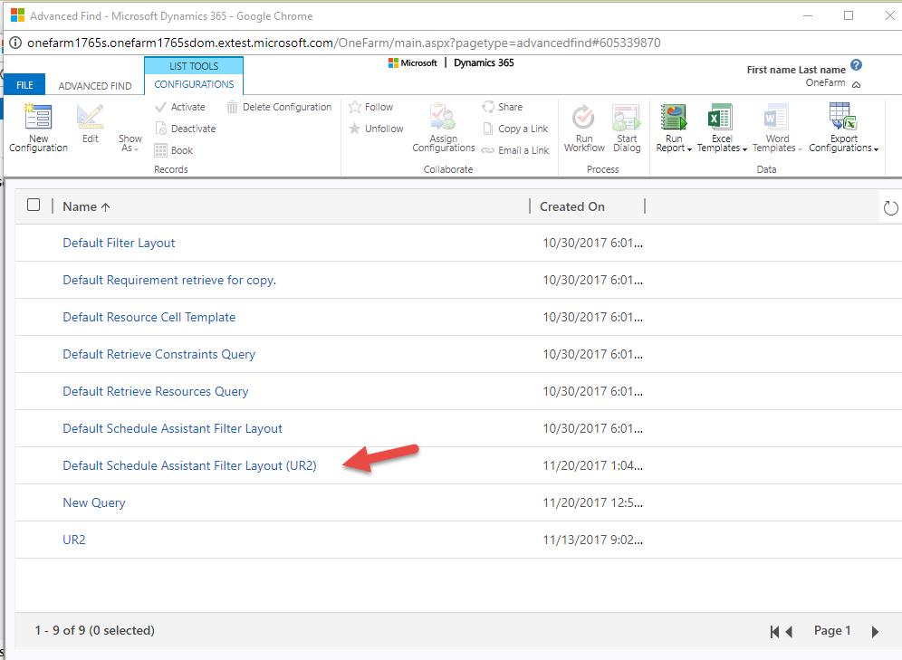 Default Schedule Assistant Filter Layout